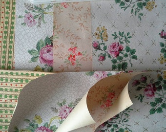 Antique rose vintage wallpaper scrap pack 8 A4 sheets 4 designs. Pink green granny chic