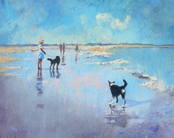 Border Collie Art Print Illustration. Border Collie on the Beach. Wall Art. Home Decor. Pet Portrait. Dog Lover Gift. Art Print.