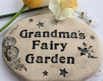 Grandma's fairy garden sign, Personalized Grandma fairy gift, Grandma garden stone. Handmade Grandma pottery with fairies, flowers, stars.