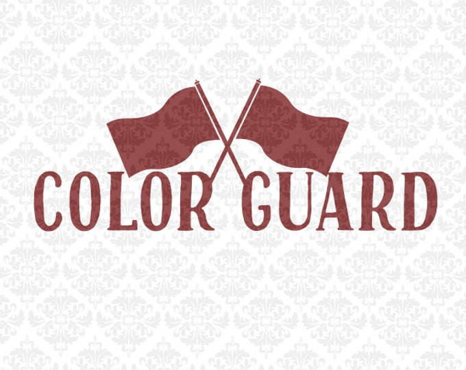 Colorguard Love Flags Monogram Color Guard Marching Band SVG DXF STUDIO Eps Png Vector Instant Download Commercial Cricut Silhouette