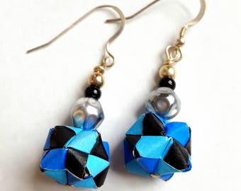 Electric Blue Modular Origami Earrings