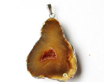 Brown Druzy Pendant - Edged Silver Druzy Agate Teardrop - Large Reversible Flat Hollow Center Druzy - Gemstone Pendant Birthday Gift