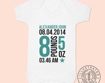Personalised Custom Baby Birth Date baby vest babygrow K0010