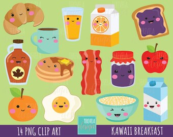 50% SALE Breakfast clipart, food clipart, breakfast graphics, commercial use, kawaii clipart, meals graphics, fruits/bread/eggs, cute images