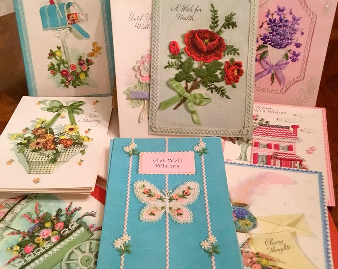 Mid Century ASSORTMENT of GET WELL Cards with Original Box and Envelopes