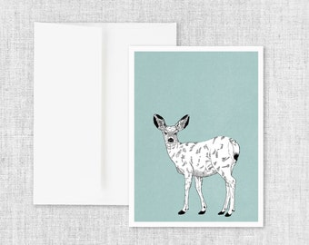 "animal art greeting card, modern greeting card, blank greeting card, greeting card set, deer, black and white, nature greeting card ""Doe"""