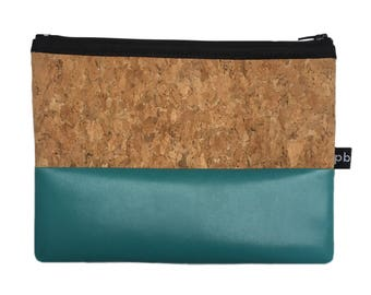 Pb_pochette Medium, turquoise and cork leather clutches, handmade, glove holder, tricks
