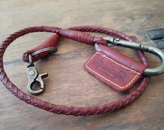 Leather Braided Keychain Cherry Red