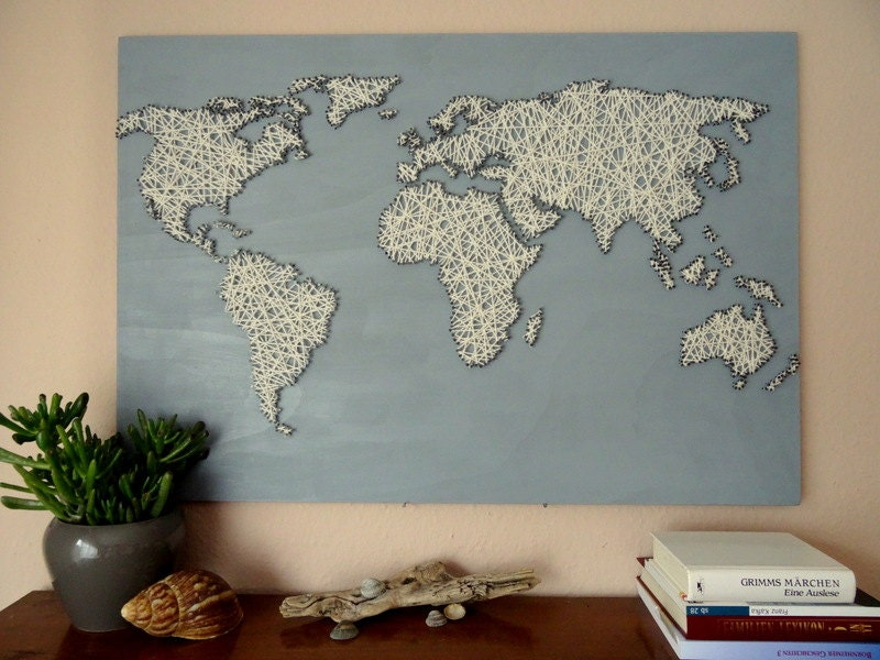 World map string art office decor travel gift world zoom gumiabroncs Gallery