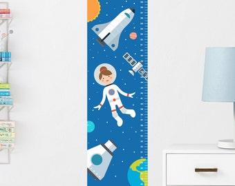 Girls Growth Chart Decal, Girls Height Chart, Space Girls Height Ruler, Girl Astronaut Growth Chart