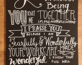 Hand lettered canvas Psalm 139:13-14 Fearfully and Wonderfully Made 18x24