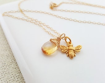 Bee Necklace - Citrine Necklace - November Birthstone - Dainty Drop Necklace - 14k Gold Fill Necklace - Honey Necklace - Gift for Her