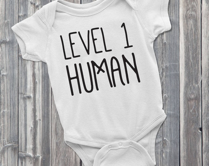 Level 1 Human 100% Soft Cotton Gaming Baby Onesie,