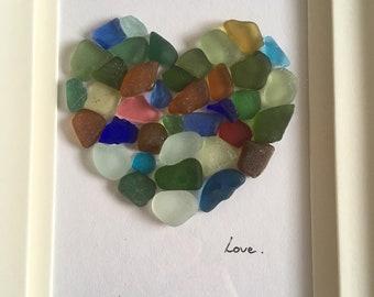 sea glass mosaic love heart, seaglass art, valentines gift, Scottish sea glass heart
