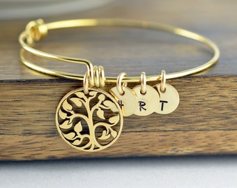 Gold Family Tree Bangle Bracelet, Tree of Life Bracelet, Family Tree Jewelry, Grandmother Gift, Gifts for Mom, Mom Gift, Initial Bracelet