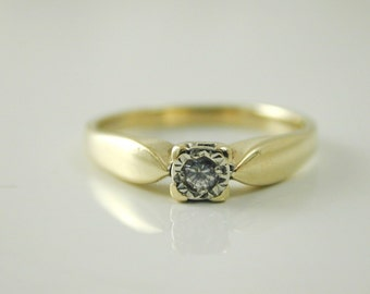 Diamond solitaire ring vintage 9 carat gold 0.05 carats size O 2.2 grams