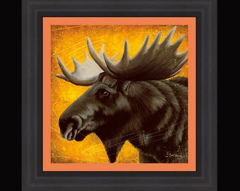 PRINT or GICLEE Reproduction -- Moose 12x12 -- Illustration From My Children's Book -- You Lookin At My Rack