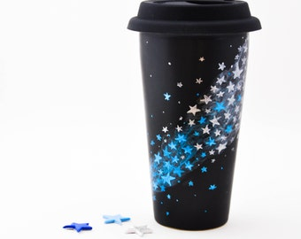 Black Ceramic Travel Mug - Made to Order - Hand Painted Winter Silver and Metallic Blue Stars Chalkboard Eco Cup - Silicon Lid