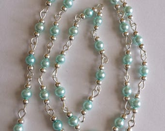 55cm of string/sky blue glass Pearl 4mm beads