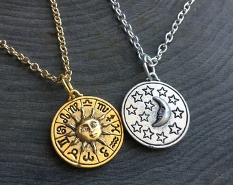 Sun and Moon Zodiac necklace, double sided, your choice of silver or gold