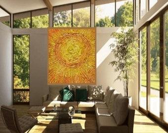 Original Acrylic painting, Abstract, Mixed media, Sun