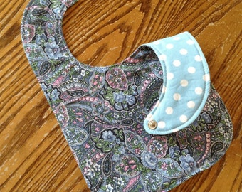 Reversible Baby Bib, Triple Layer, Snap Closure, Blue Paisley, Polka Dot, ready to ship