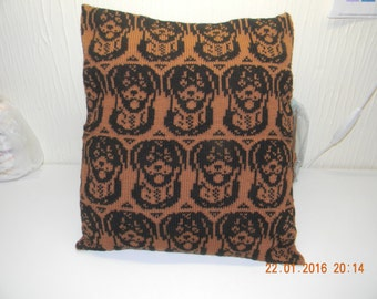 Handmade knitted Rottweiler cushion cover complete with infill
