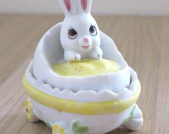 Vintage Lefton Baby Bunny Egg Keepsake Box