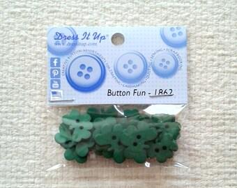 "Green Shamrock Buttons - ""Button Fun"" - Dress It Up - Packages of 18                                                              02/2018"