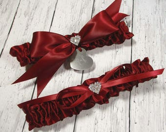 Personalized Red Wedding Garter Set in Satin with Engraving and Rhinestone Hearts