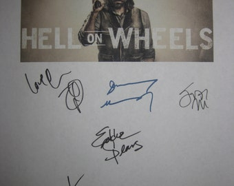 Hell on Wheels Signed TV Pilot Script Screenplay Autograph X8 Anson Mount Common Colm Meaney Eddie Spears Dominique McElligott Tom Noonan
