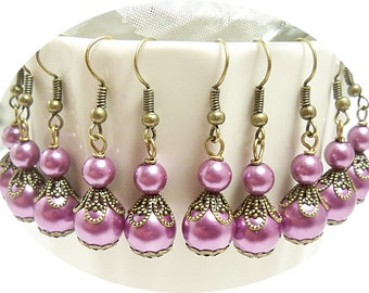Wisteria Bridesmaid Earrings, Wedding, Purple Earrings, Orchid Earrings, Bridal Party, Lavender Earrings, Purple and Gold, Antiqued Bronze
