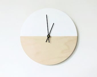 Large Wall Clock, Clean and Simple Home Decor, Wood and White,  Housewares, Home and Living, Unique Wall Clock