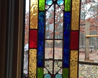 Stained Glass Sun Catcher - mini Cathedral Window with Lt Blue nuggets