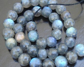 6-7mm size, 18 Inch Strand OF Rare Blue flashy Labradorite Faceted Round BALLS  Beads.