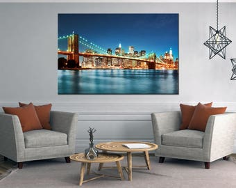 Buy Brooklyn Bridge canvas wall art, New York brooklyn bridge art, Night brooklyn bridge print, New York cityscape landscape wall art canvas