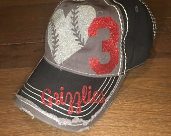 Baseball Bling Hat, Custom sports Mom, Baseball Mom Hat, Custom Baseball Hat, Distressed Baseball Hat, Distressed Sports Mom Hat, Sports Mom