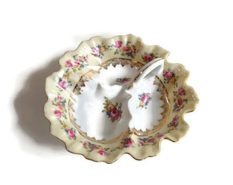 Goldcastle Handled 3-part Relish Dish in Hostess Pattern Ruffled Edge Floral Design Vintage Occupied Japan Serving Piece – Seldom Found