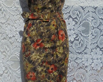 Vintage  floral dress cotton  frock  roses wiggle pencil 60s belt  brown orange fall   small  from vintage opulence on Etsy