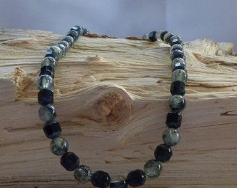 Rutilated Quartz and Black Glass Necklace