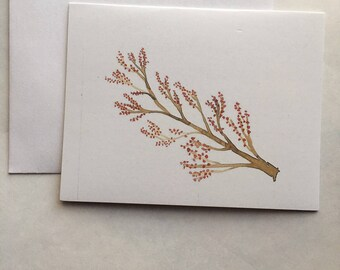 Christmas Cards/All Occasion Cards- Red Berries, Includes 10 Cards & Envelopes, Handmade, Christmas, Notecards