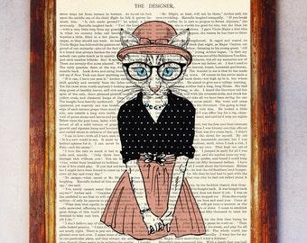 Female Cat Art Print, Cat Wall Art, Book Art Cat Print, Animal Print, Cat Artwork, Cat Poster, Digital Download