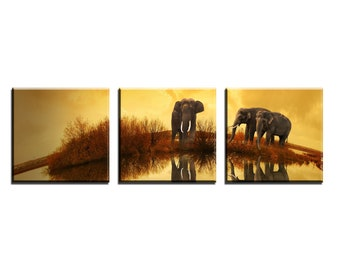 Canvas triptych with elephant subject in African landscape