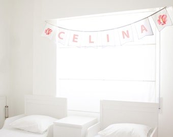 personalised bedroom decor, personalized party props, girls name banner, celebration banner, colorful bunting, unique party backdrop