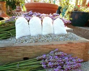 Lavender Sachets in muslin bags, organically grown in the Pacific Northwest United States, set of 4 for 8 dollars