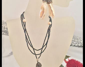 Vintage Twilight Freshwater Pearls & Black Spinel Beads Necklace, Free Form Natural Pearl with Crystals Pendant and Titanium Earrings SET