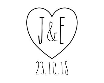 Custom Heart Initials and Date Stamp, heart rubber stamp, save the date, wedding, gift tag stamp, card stamp, diy wedding decor, (cts36)