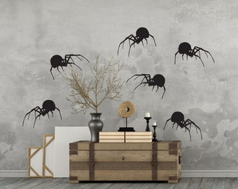 Halloween Decor Vinyl Wall Decal Spiders Package Of 6 Halloween Party Decor Creepy Scary Spiders