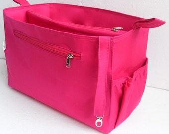 Extra Taller Purse organizer for Louis Vuitton Neverful GM in Fuchsia fabric