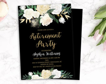 Retirement Invite, Retirement Party Invitation, Floral Retirement Invitation, Black Gold Retirement Invitation